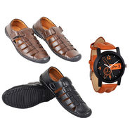 AR Gold Leatherite Sandals + Leatherite Watch Free (SW1)