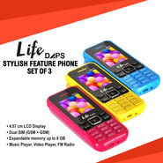 LifeDAPS Stylish Feature Phone Set of 3