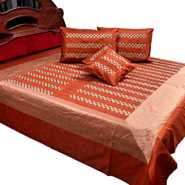 Little India Double Bedcover with 2 Cushion Cover and 2 Pillow Cover - Brick Red