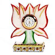Lotus Shaped Handpainted Table Clock-MAR15355
