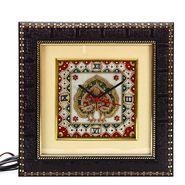 Marble Wall Clock With Dual Dancing Peacock Motif-MAR15385