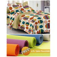 Storyathome Brown Dots 1 Double Bedsheet With 2 Pillow Cover -MG1450_TT