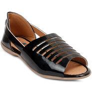 Meriggiare Synthetic Leather Black Sandal -Mgfj5072A