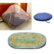 Storyathome Double Bed foldable Mosquito Net With 1 Pc Door Mat -MOS_101-DN1251
