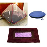 Storyathome Double Bed foldable Mosquito Net With 1 Pc Door Mat -MOS_101-DN1406