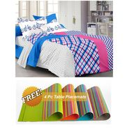 Storyathome Blue Contemporary 1 Double Bedsheet With 2 Pillow Cover -MT1238_TT