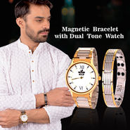 Magnetic Bracelet with Dual Tone Watch