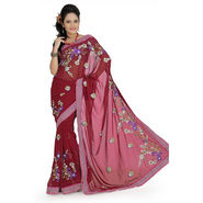 Faux Georgette Saree With Blouse - Maroon-687