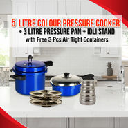 5 Ltrs + 3 Ltrs Pressure Cooker with Idli Stand with Free 3 Pcs Air Tight Containers