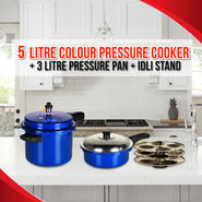 Master 5 Ltr Coloured Pressure Cooker + 3 Ltr Coloured Pressure Pan with Idli Stand