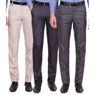 Tiger Grid Pack of 3 Cotton Formal Trouser For Men_Md056