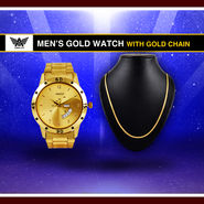 Men's Gold Watch with Gold Chain