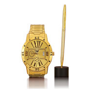 Men's Gold Watch with Gold Pen