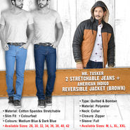 Mr. Tusker 2 Stretchable Jeans + American Indigo Reversible Jacket (Brown)