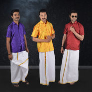 Mr. Tusker Pack of 3 Shirts + 1 Veshti with Golden Jari (3SL1)