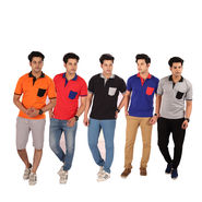 Mr. Tusker Pack of 5 Collar T-shirts with Contrast Pocket (5PPT1)
