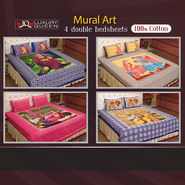 Mural Art - 4 Double Bedsheets (100% Cotton) (4DDBS4)