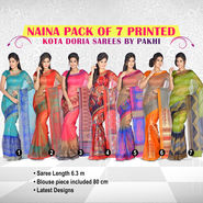 Naina Pack of 7 Printed Kota Doria Sarees by Pakhi (7K6)