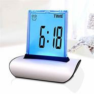 New 7 Colors Changing Table Clocks LCD Screen Push Alarm Clock Multi-Functional Large Display Desk Clock With Thermometer Calendar