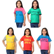 Oleva Combo Of 5 Kids T-Shirts For Girls ONKT_G