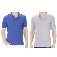 Pack of 2 Oh Fish Plain Polo Neck Tshirts_P2gryblu - Grey & Blue