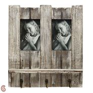 Natural Look Wooden Photo frame with Key Hooks-PF1413