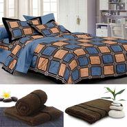 Storyathome 6 pc Combo 1 Double Bed Sheet 2 Pillow Cover 1 Bath Towel & 2 Hand Towel-PL_1107-TW1208-L-TW1208-M