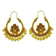 Pourni Stylish Brass Earring_Prer42 - Golden