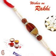 Pearl and Rudraksh Rakhi with Glass Melamine bead