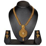 Pourni Stylish Brass Necklace Set_Prnk71 - Golden