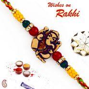 Ganesh Motif Mauli Rakhi with Colorful Beads