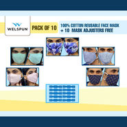 Pack of 10 - 100% Cotton Reusable Face Mask + 10 Mask Adjusters Free (HW1)