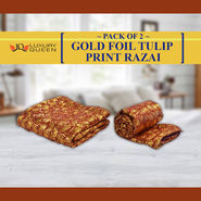 Pack of 2 Gold Foil Tulip Print Razai
