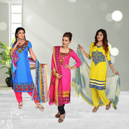 Pack of 3 Assorted Printed Dress Material by Pakhi (3PDM1)