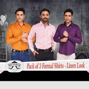 Mr. Tusker Pack of 3 Formal Shirts - Linen Look (P3F3)