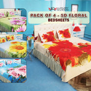 Pack Of 4 - 5D Floral Bedsheets (4DBS3)