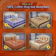 Pack Of 4 - 100% Cotton King Size Bedsheets (4DDBS6)