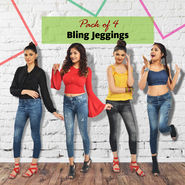 Pack of 4 Bling Jeggings