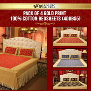 Pack of 4 Gold Print 100% Cotton Bedsheets (4DDBS5)