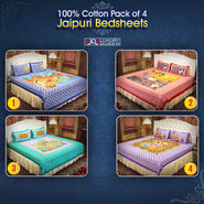 100% Cotton Pack Of 4 Jaipuri Bedsheets (4DDBS3)