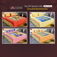 Pack of 4 Queen's Life 100% Cotton Double Bedsheets (4DDBS7)