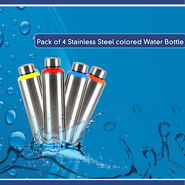 Pack of 4 Stainless Steel Colored Water Bottles