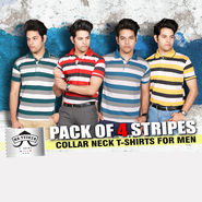 Pack of 4 Stripes Collar Neck T-shirts for Men (4ST1)