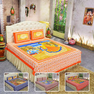 Pack of 4 Village Life 100% Cotton Double Bedsheets (4DDBS8)