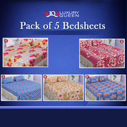 5 King Size Double Bedsheets + 10 Pillow Covers - Floral Collection (5BS31)