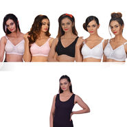 Pack of 5 Cotton Rich Full Coverage Bras by Fashion Comfortz + 1 Camisole Free