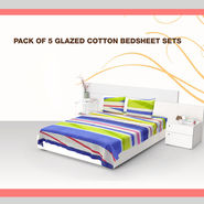Pack of 5 Glaze Cotton Neon Home Bedsheet Set (5BS53)