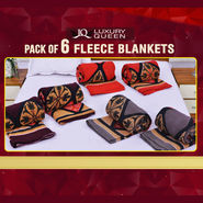 Pack of 6 Fleece Blankets - Diamond Print Collection (6FB2)