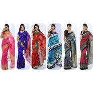 Pack of 6 Kanjeevaram Inspired Printed Art Silk Sarees by Pakhi (6AS1)