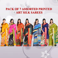 Pack of 7 Assorted Printed Art Silk Sarees (7A8)